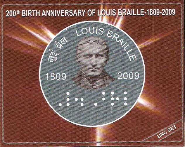 2009 Louis Braille Hyderabad Mint UNC Set- Cover