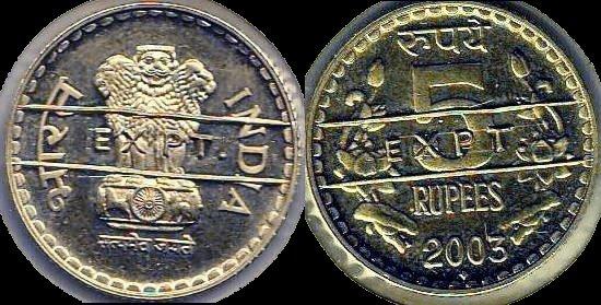 """INDIA. 5 Rupees """"Experimental Coin"""", 2003. Bombay Mint at Maharashtra."""