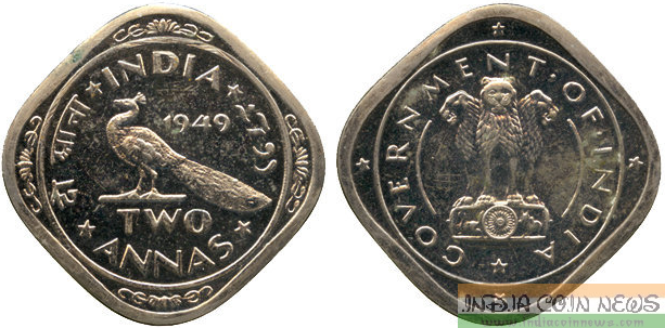 2-Annas, rev type I, with side view of peacock