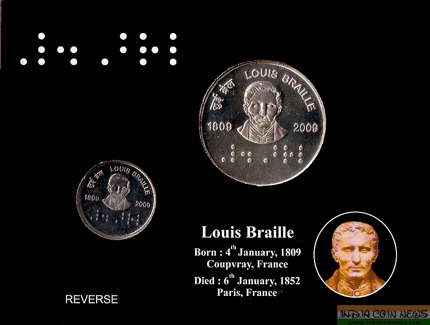 2009 '200th Birth Anniversary Of Louis Braille' UNC Set -Reverse