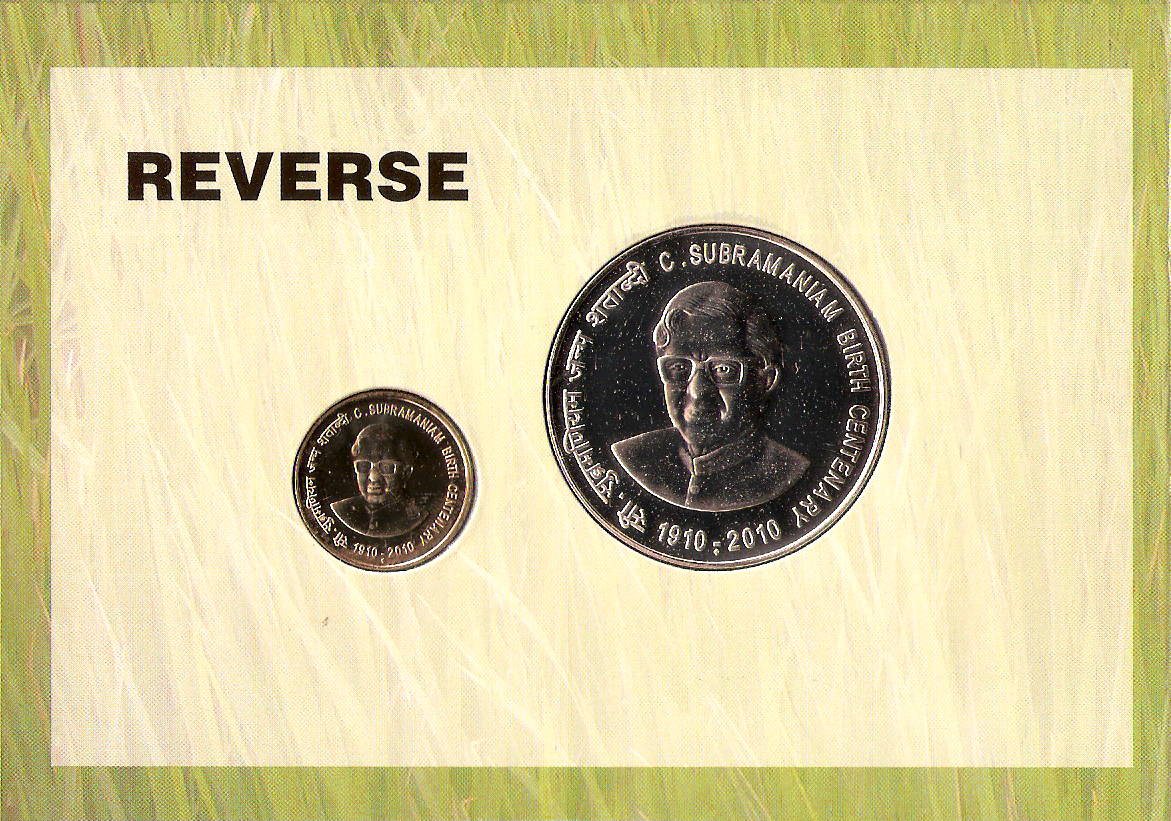 "2010 ""C.Subramaniam Birth Centenary"" UNC Set - Reverse"
