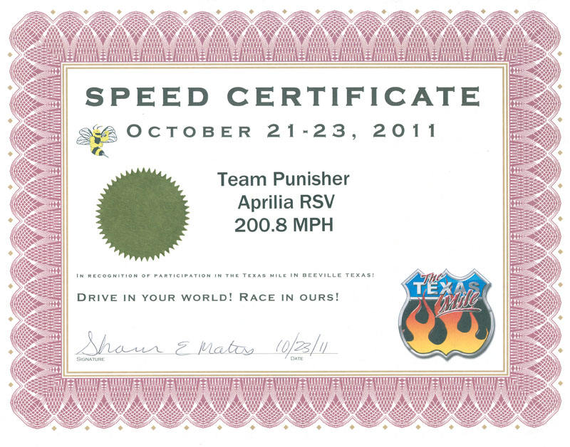 Speed Certificate