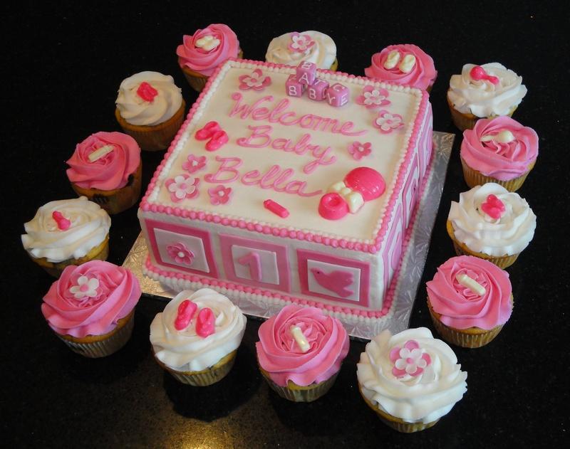 Baby Shower Baby Blocks Cake & Cupcakes
