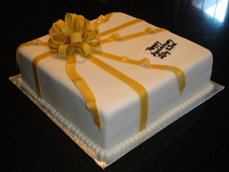 50th Anniversary Present Cake
