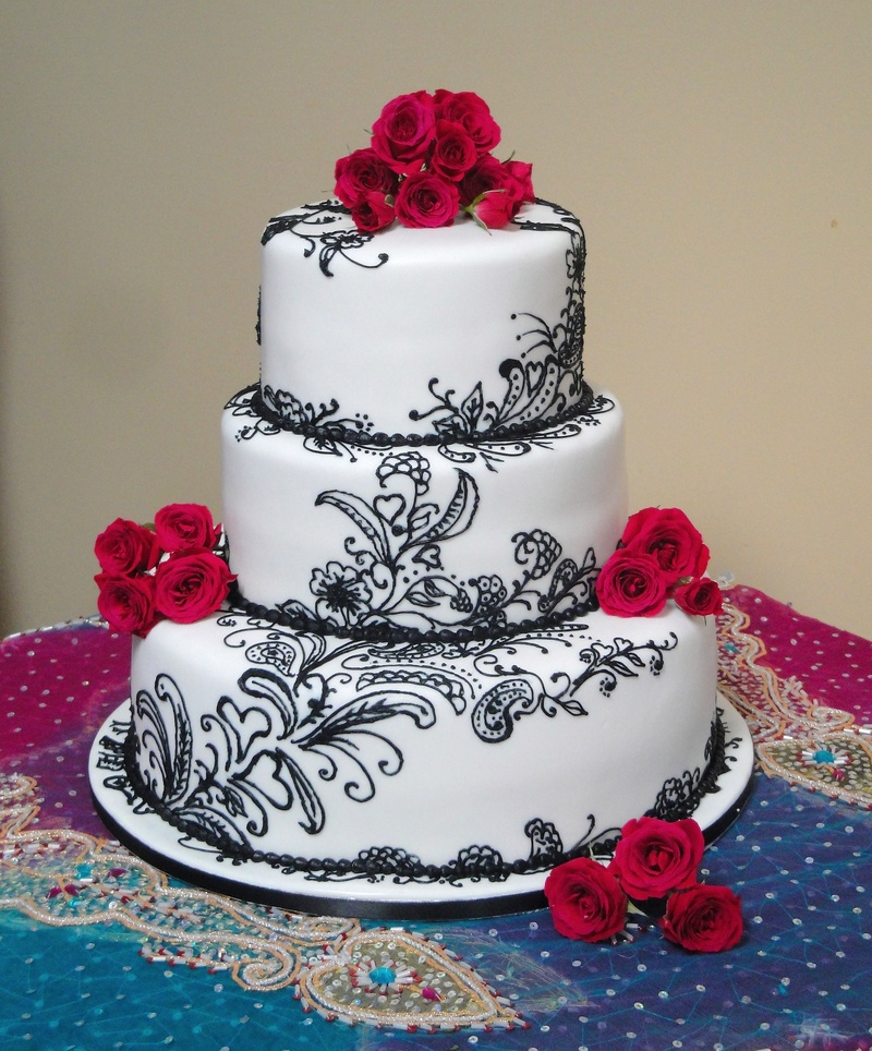 3 Tiered Henna Inspired Engagement Cake