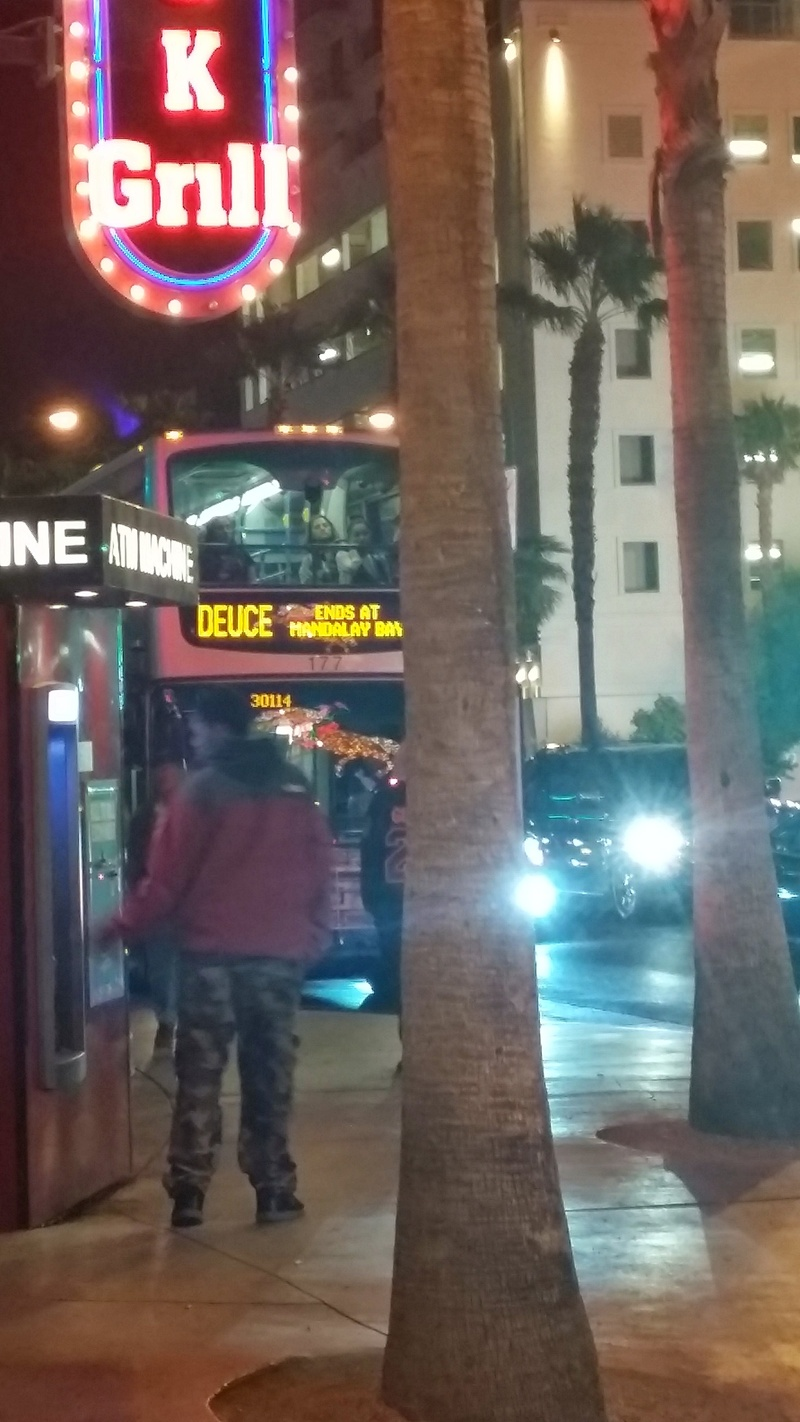 Deuce Bus Stopped In Front Of The Heart Attack Grill