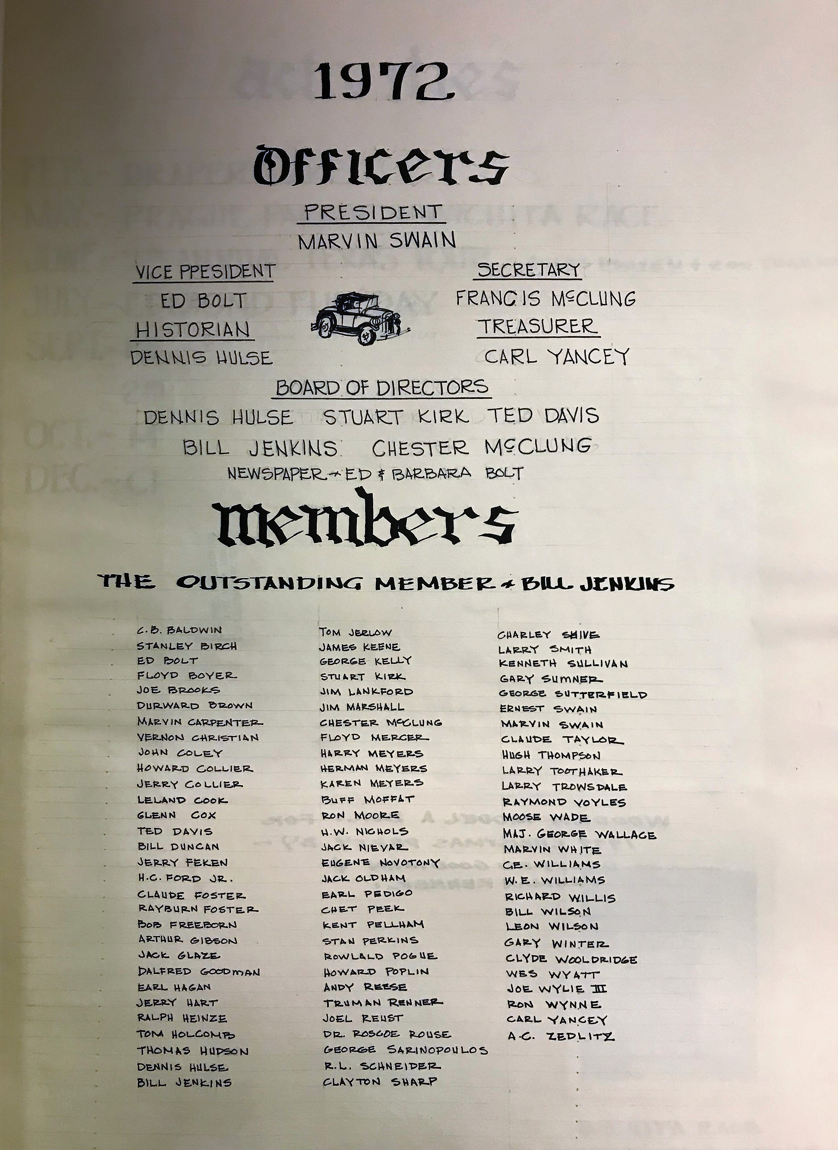 1972 Club Members And Officers