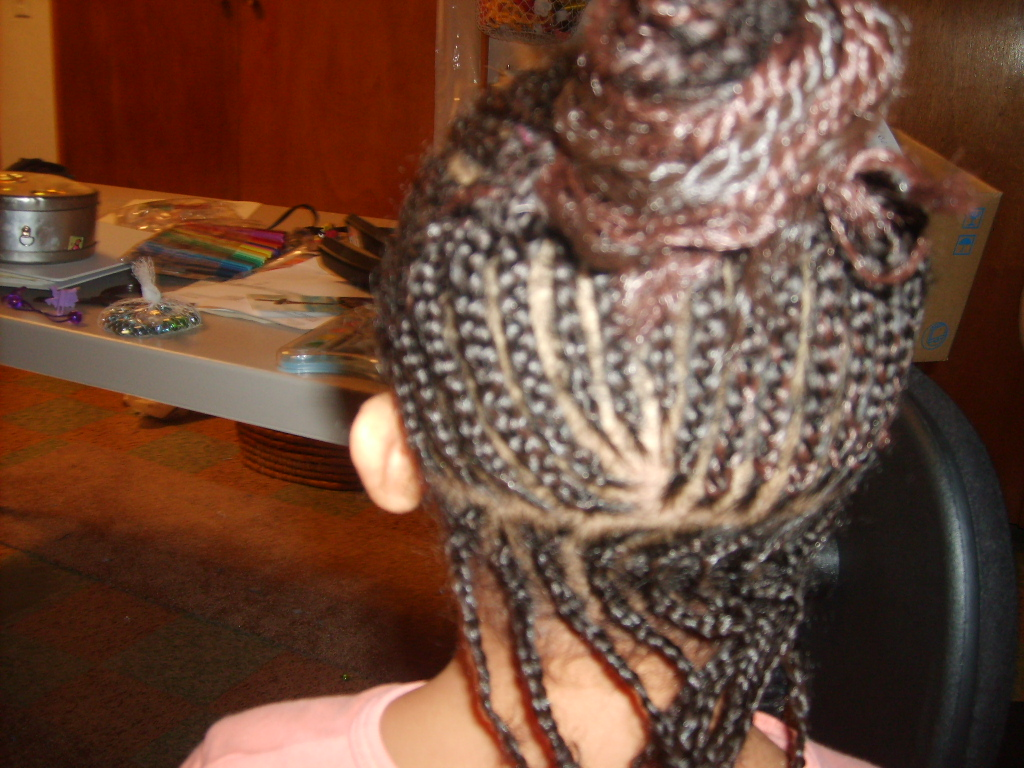 Cornrow with extensions backview