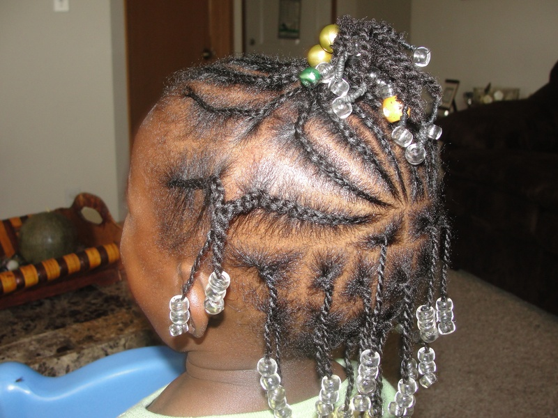 cornrow and twists with beads