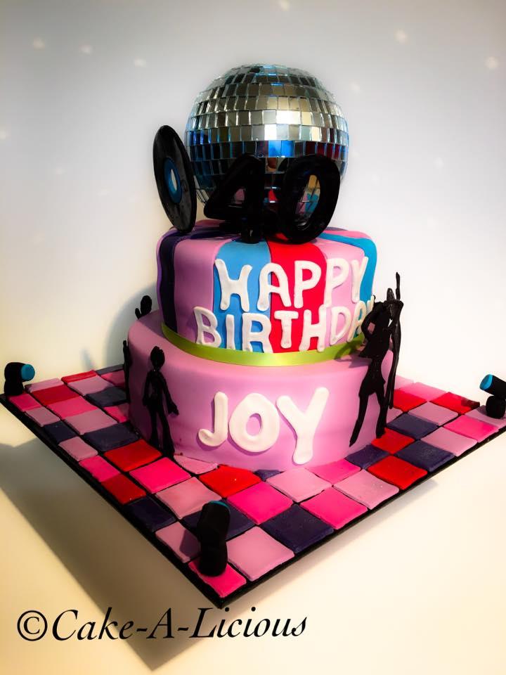 Disco Themed 40th Birthday Cake