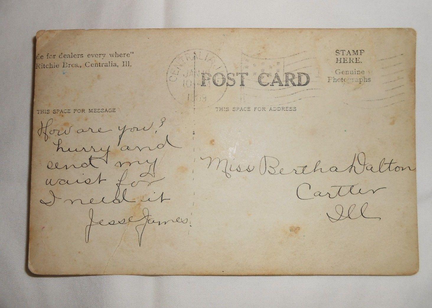 Reverse of Jesse James postcard
