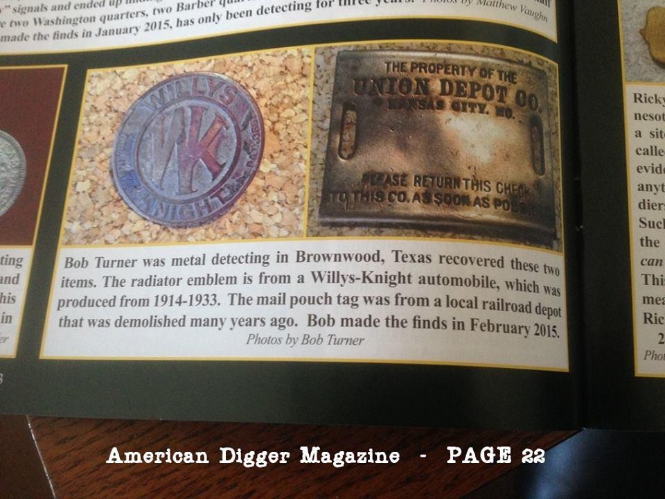 Bob Turner's finds make American Digger magazine