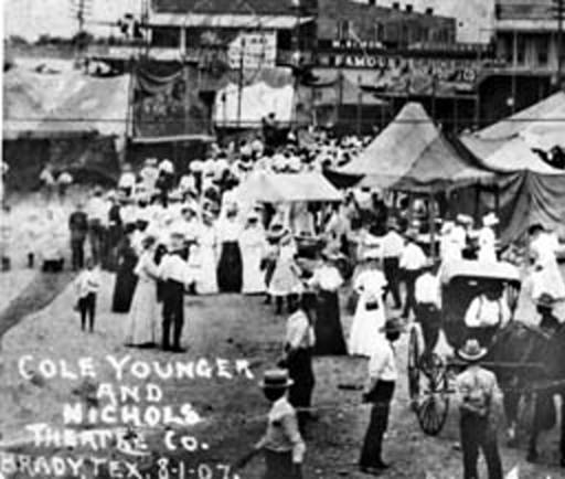 Cole Younger with Lew Nichols Carnival - Brady, Texas - 1907
