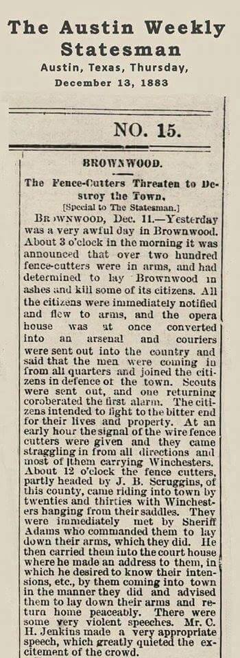 Brown County Fence-Cutting War - 1883