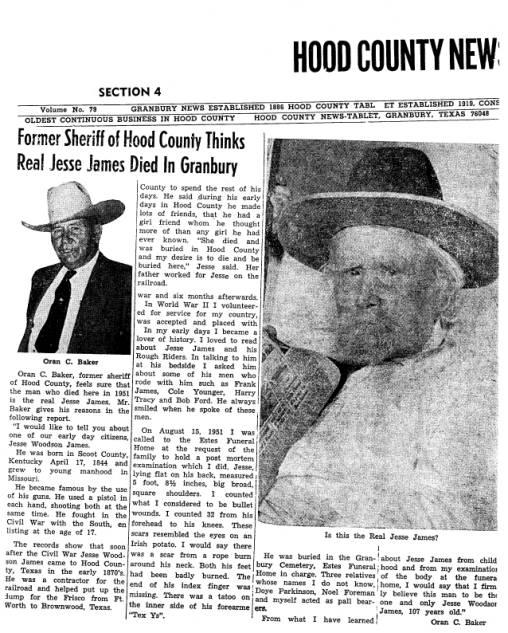 Sheriff Oran C. Baker on Jesse W. James