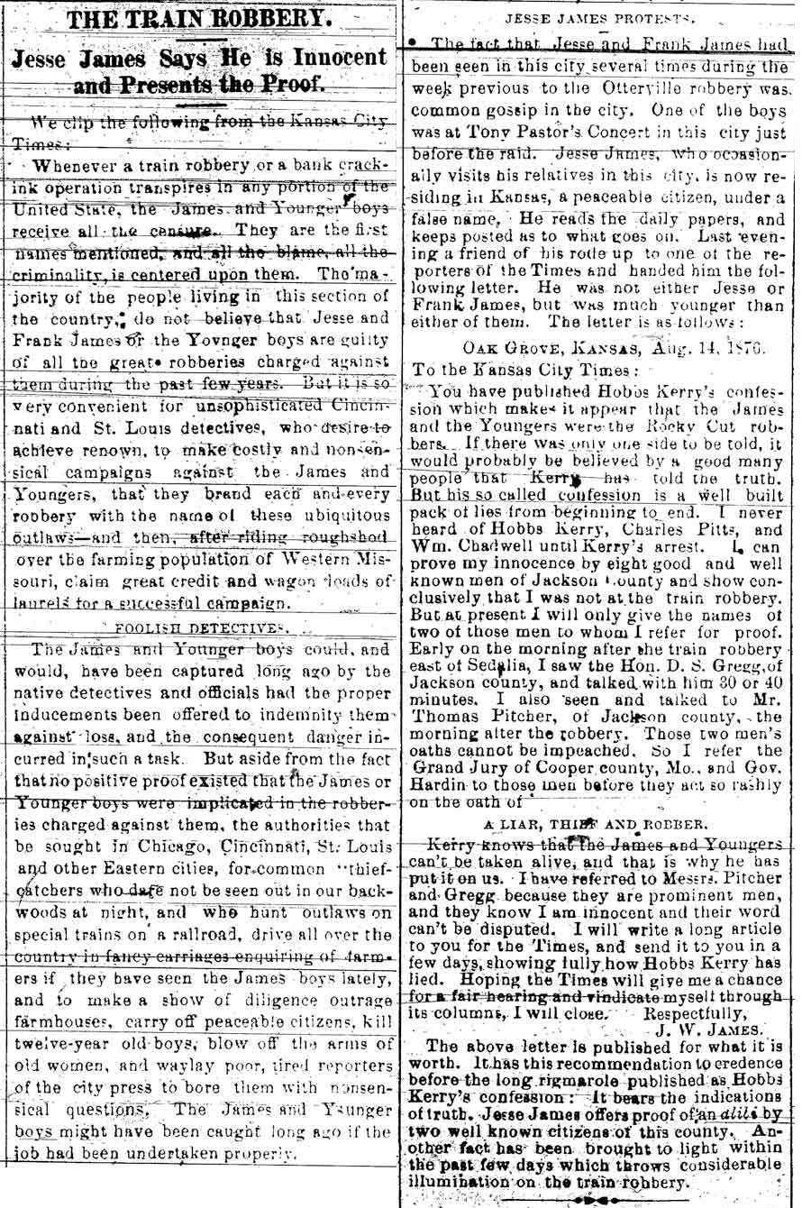 1876 Article About the Jameses & Youngers