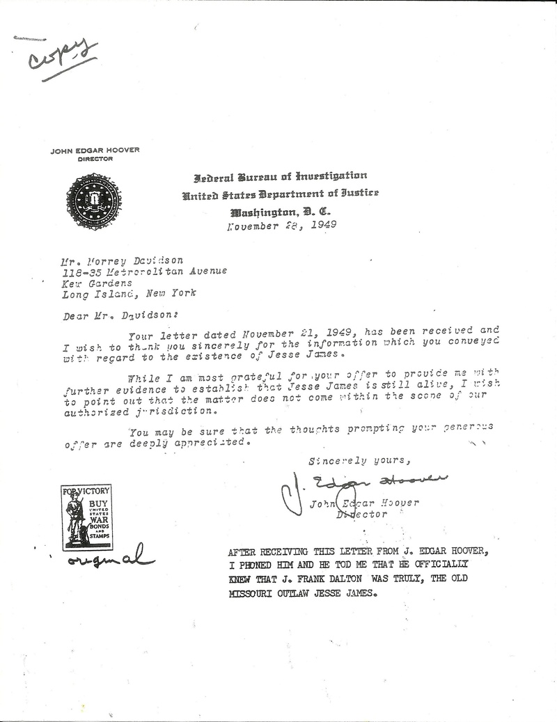 Letter from J. Edgar Hoover about Jesse James