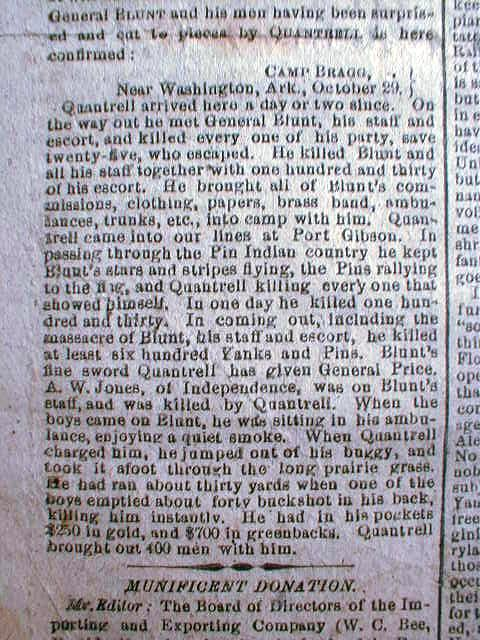 Quantrell's Battle and Killing of General Blunt