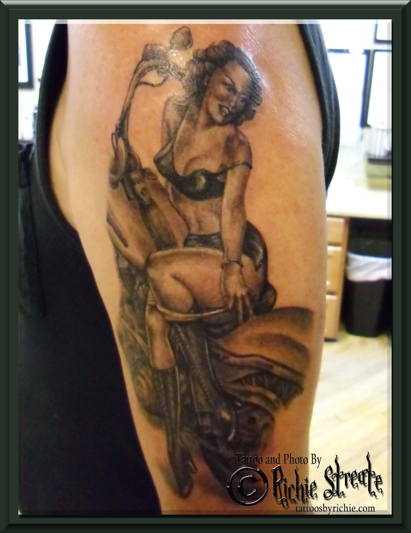 80s Pin Up Girl Tattoo