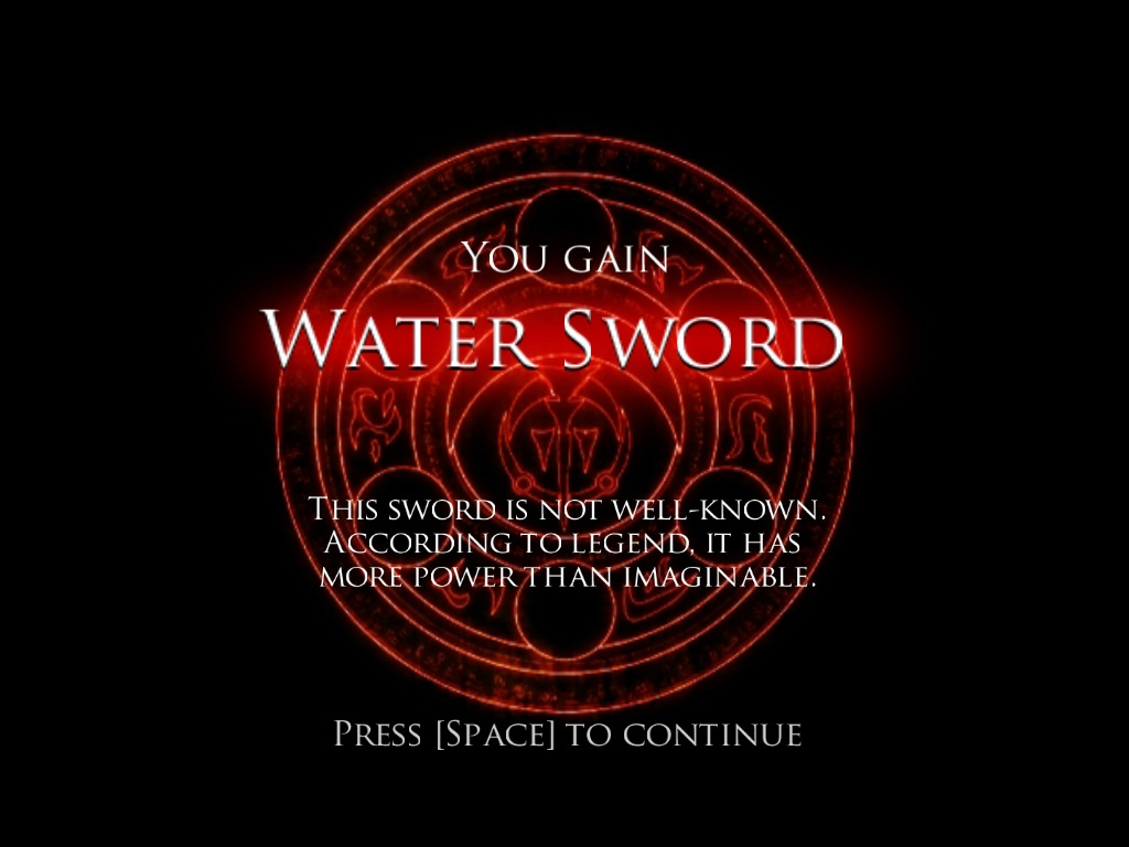 Getting the mighty WATER SWORD