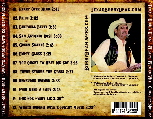 "Bobby Dean CD-Back:  ""WANTED"""