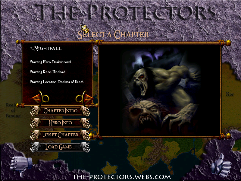 Chapter selection screen
