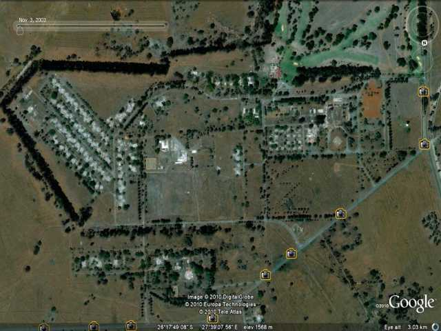 Google Earth view of the village in Ruins.