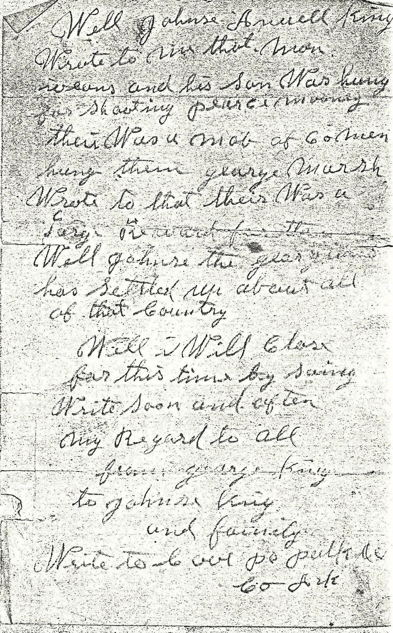 George King letter to son Johnson King pg. 2