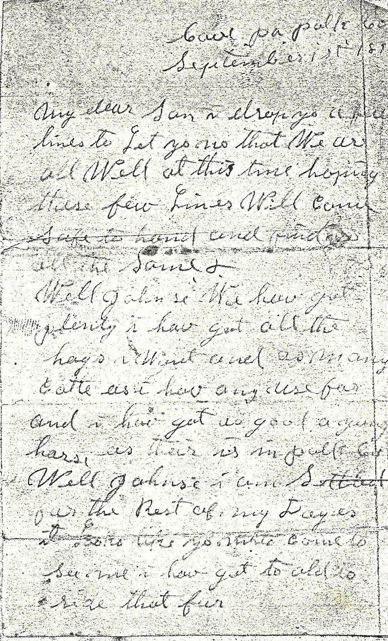 George King letter to son Johnson King Pg. 1