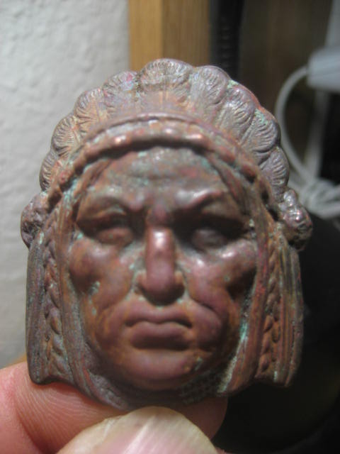 "Copper Indian Head approx 2""X2.5""High"