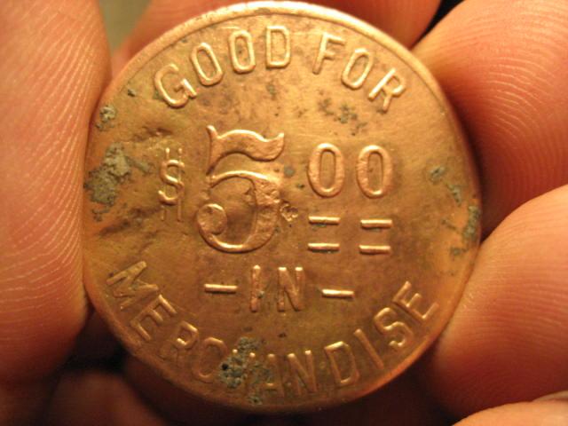 Good for $5.00 in Merchandise trade token