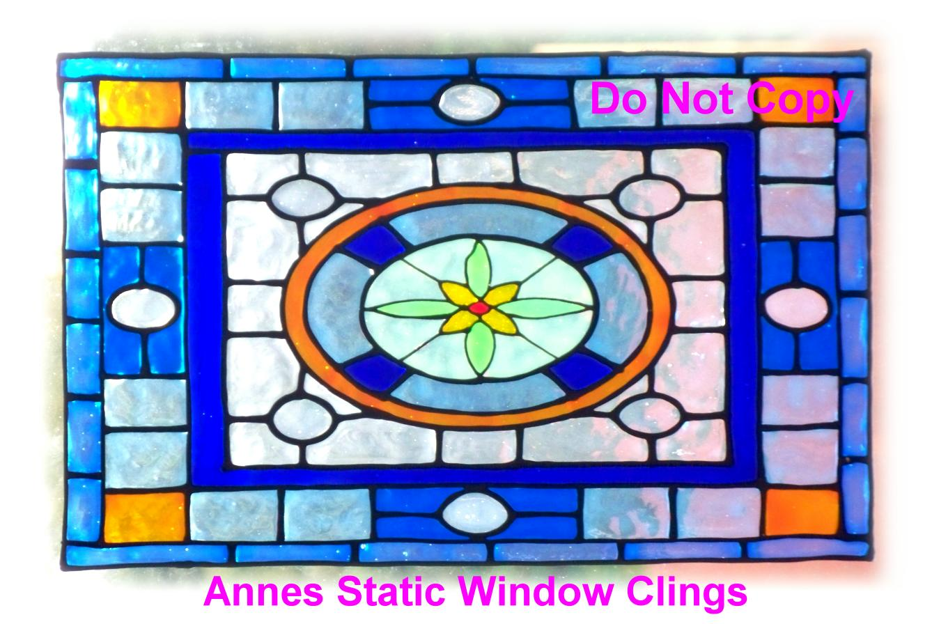Victorian window cling stained glass effect decal sun for Victorian stained glass window film