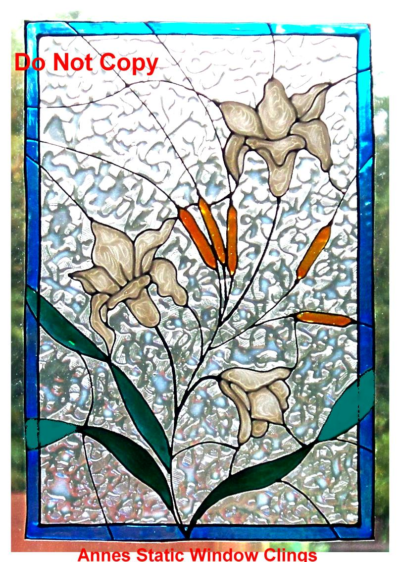lily panel window cling stained glass effect sun catcher decal motif decoration ebay. Black Bedroom Furniture Sets. Home Design Ideas