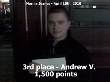 3rd place - Andew V. - 1,500 points