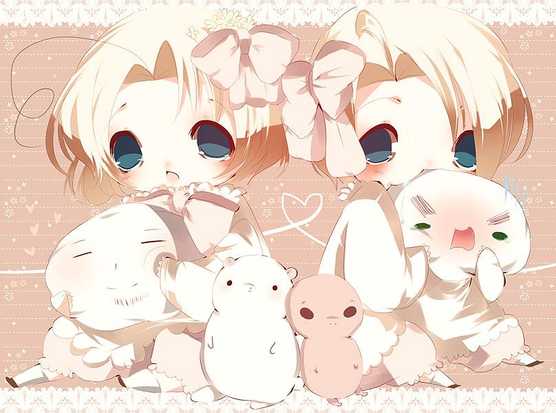 cute anime baby girl twins