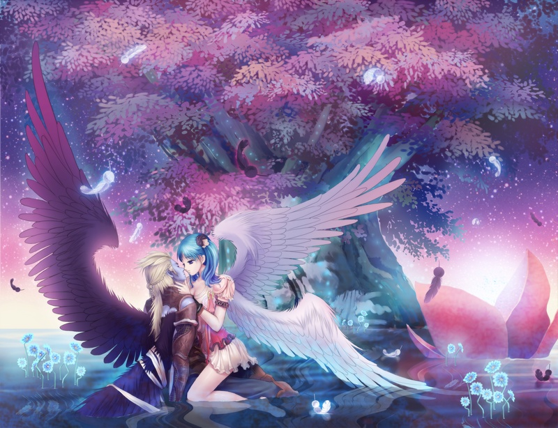 Angel And Demon Lovers Anime Wallpaper Pictures