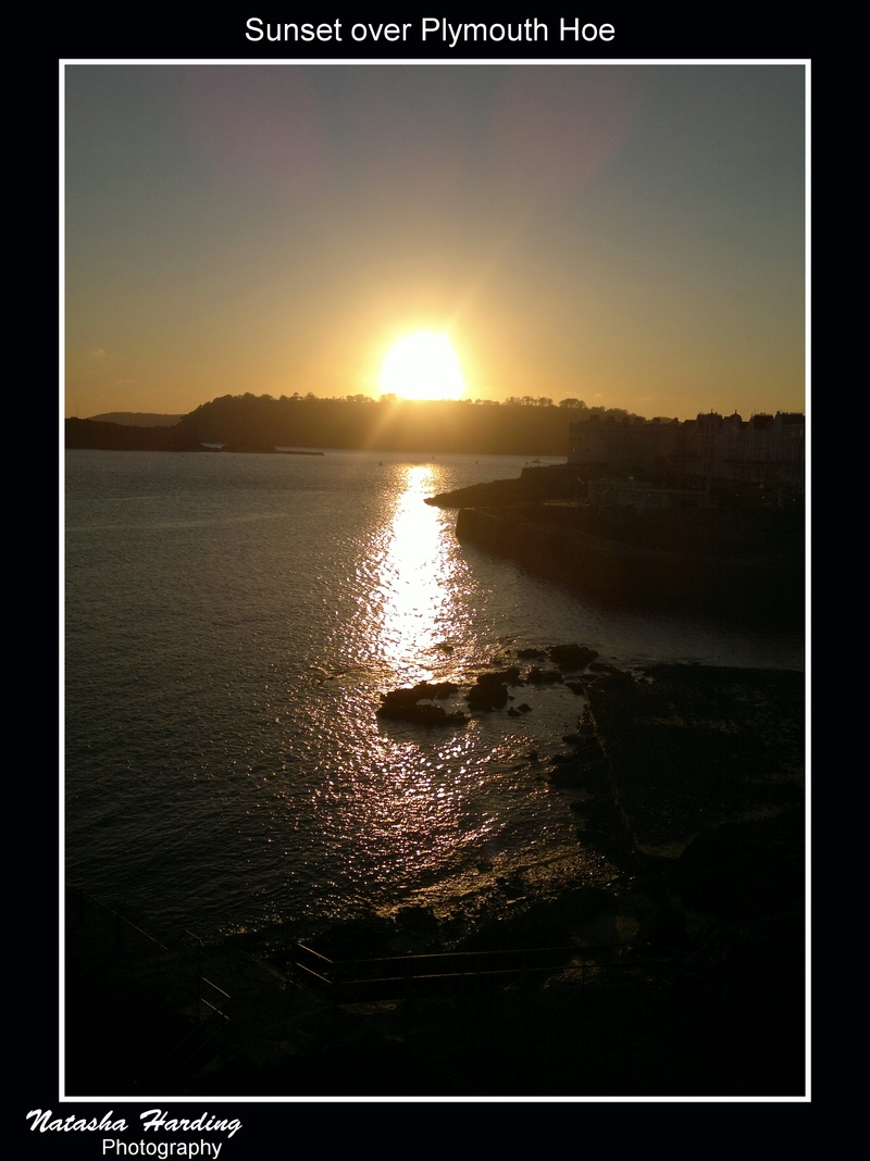 sunset over plymouth