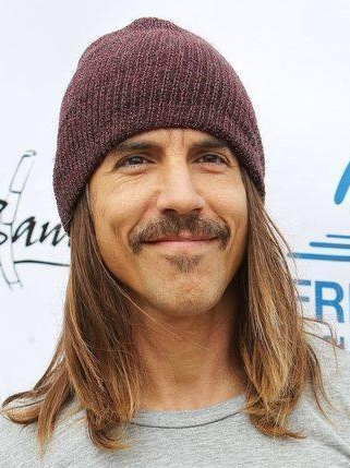 Anthony Kiedis - long brown hairstyle and mustache and beanie - GLH 77b154d038a