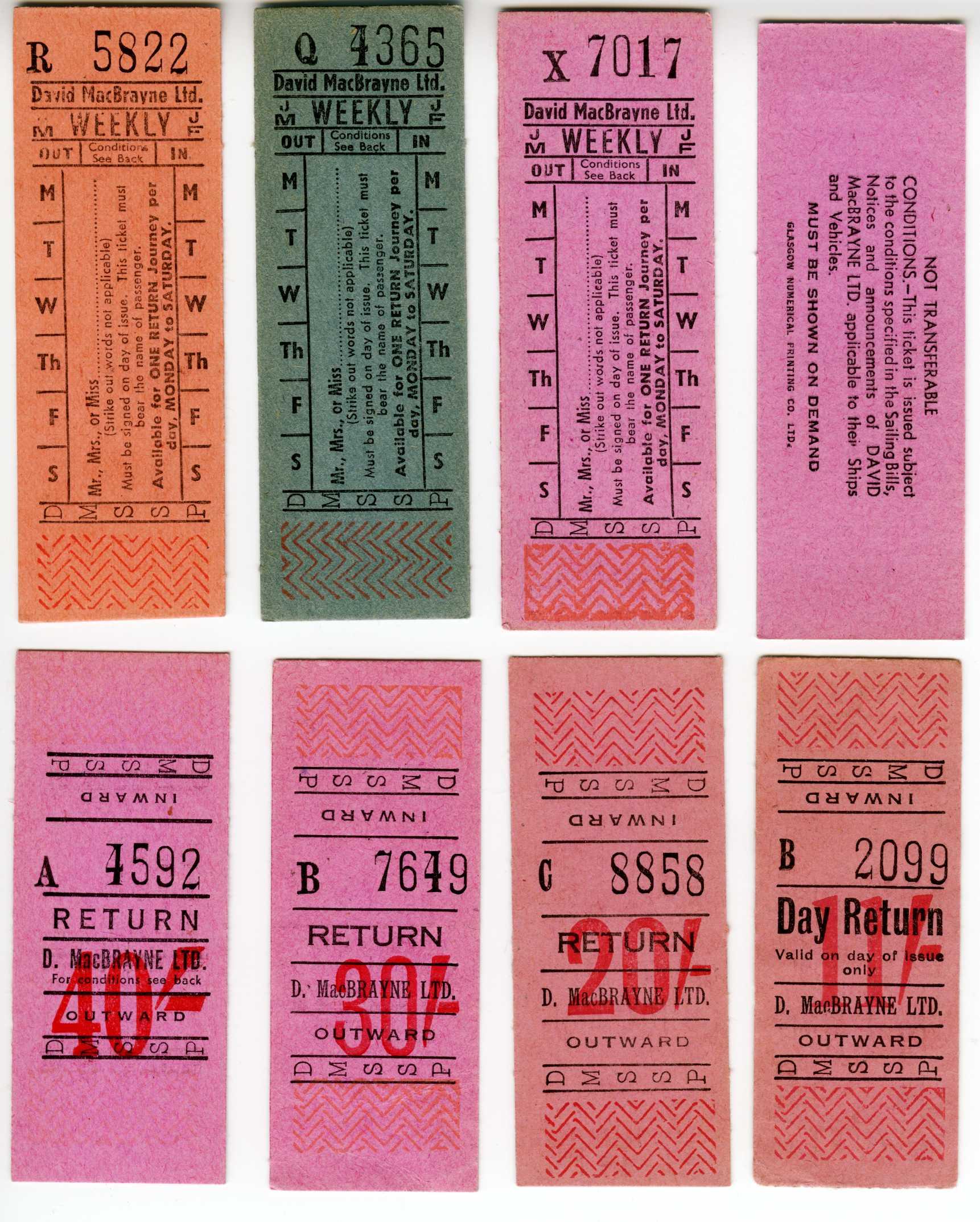 D. MacBrayne Insert Setright Tickets
