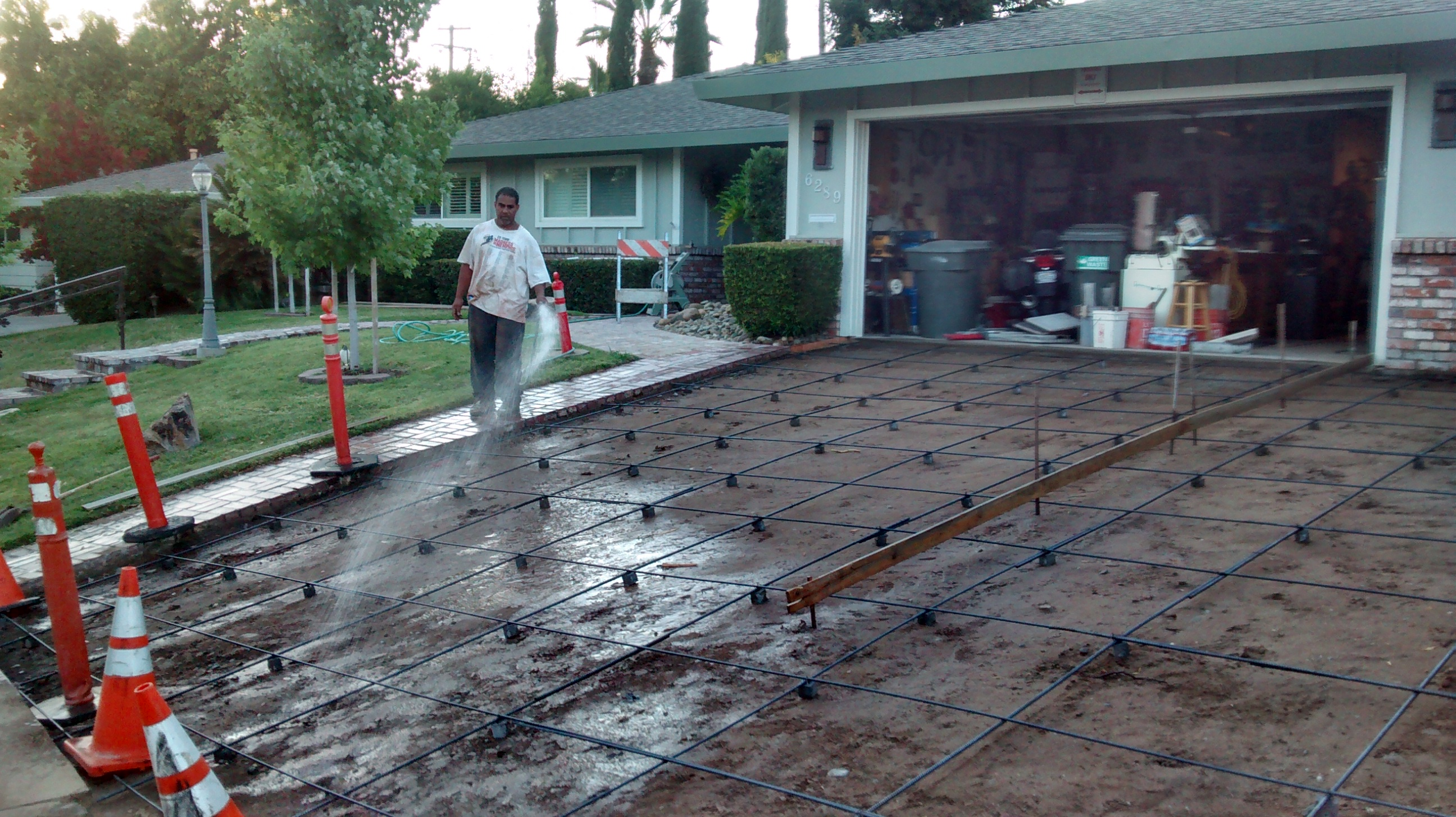 rebars are layed for a concrete drive way