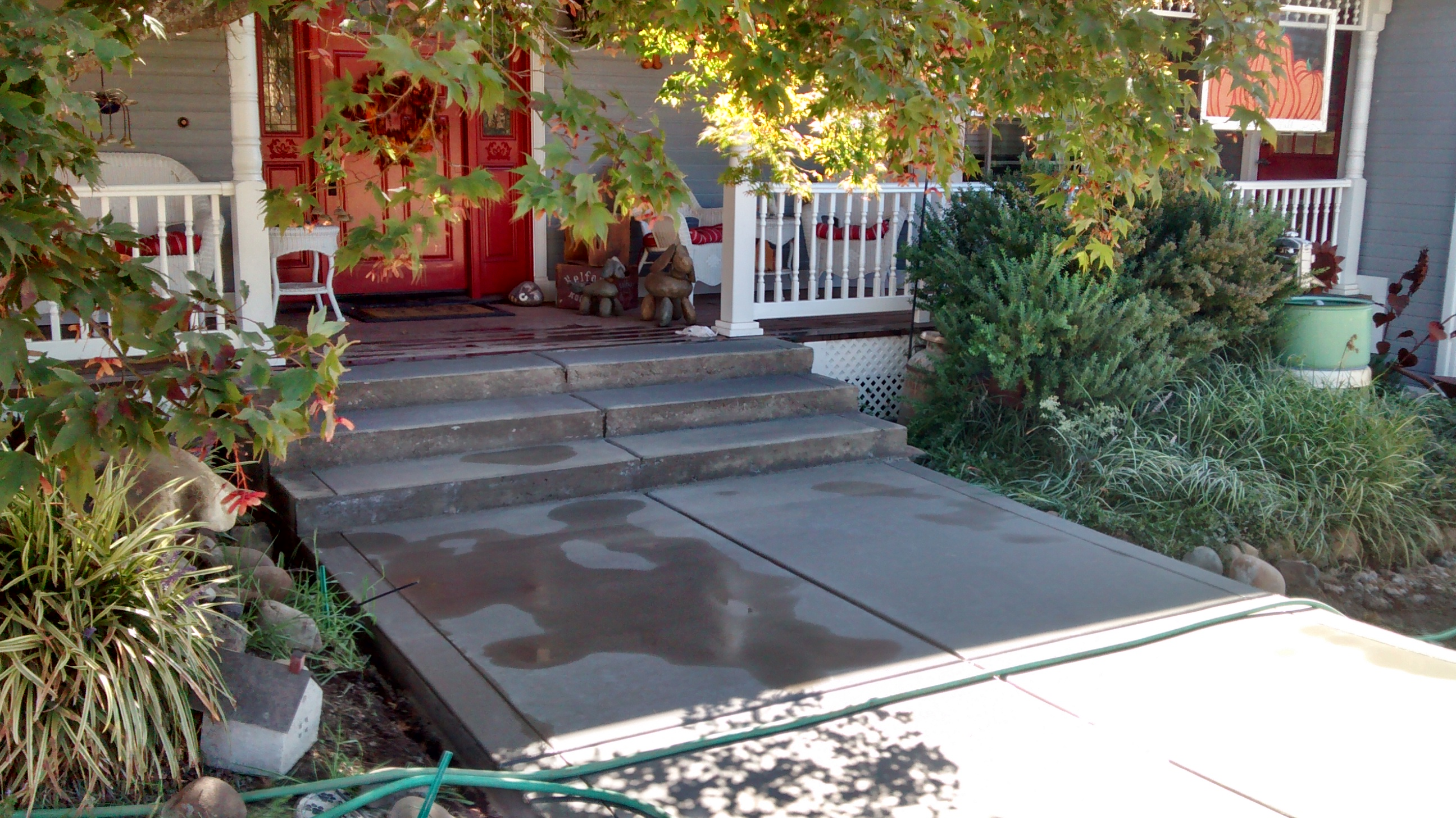 front step and porch