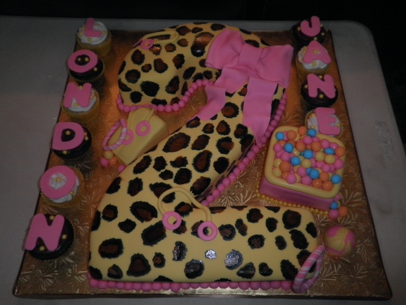 Print Images On Cake : Leopard print 2nd Birthday Cake