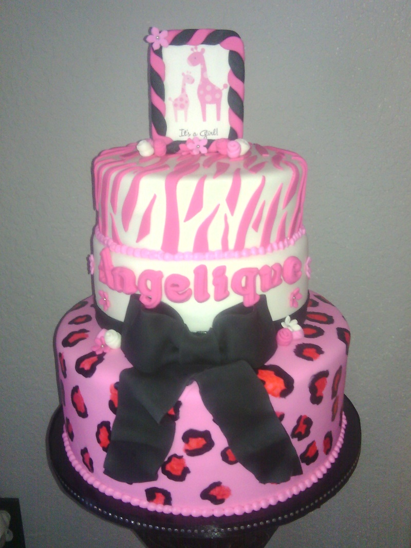 pink safari baby shower cake the hippest pics