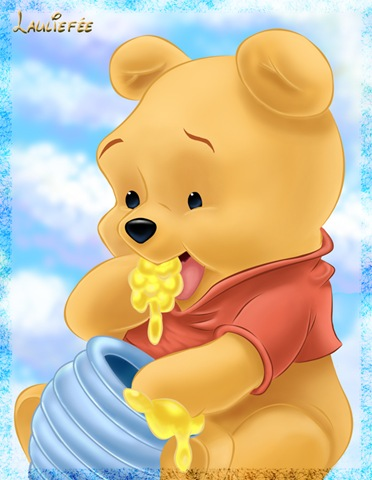 baby pooh bear eating honey - Lola's Land
