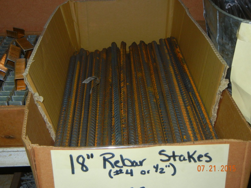 Rebar stakes and 20' Sticks