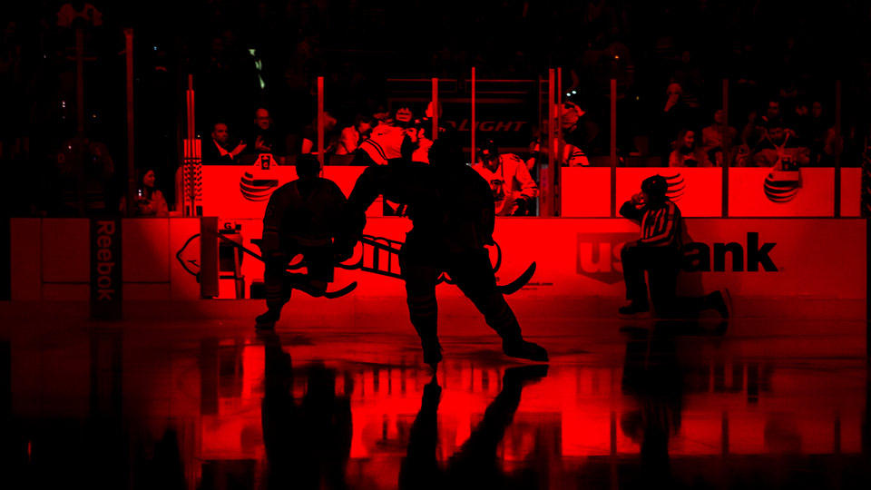 """Seeing Red"" - Chicago Blackhawks Pregame Photo"