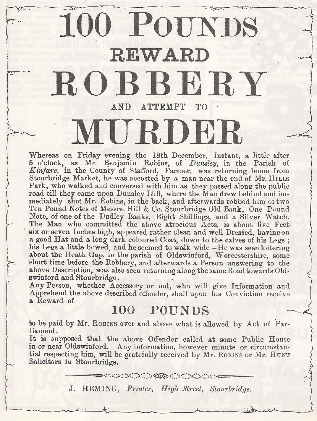 Reward Poster. 1812.