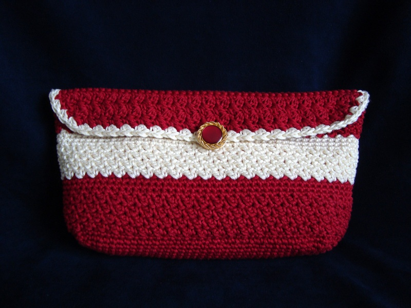 Bordeaux and Cream Small Clutch Bag