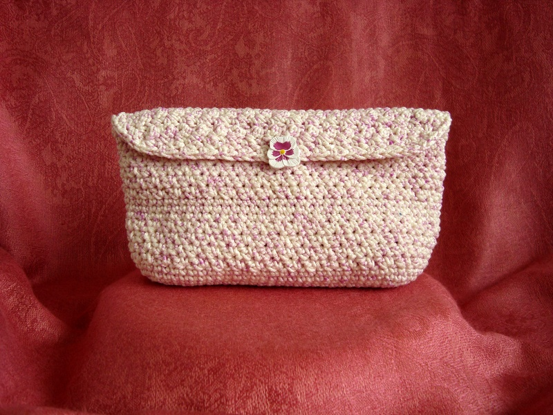 Fuschia and Cream Clutch