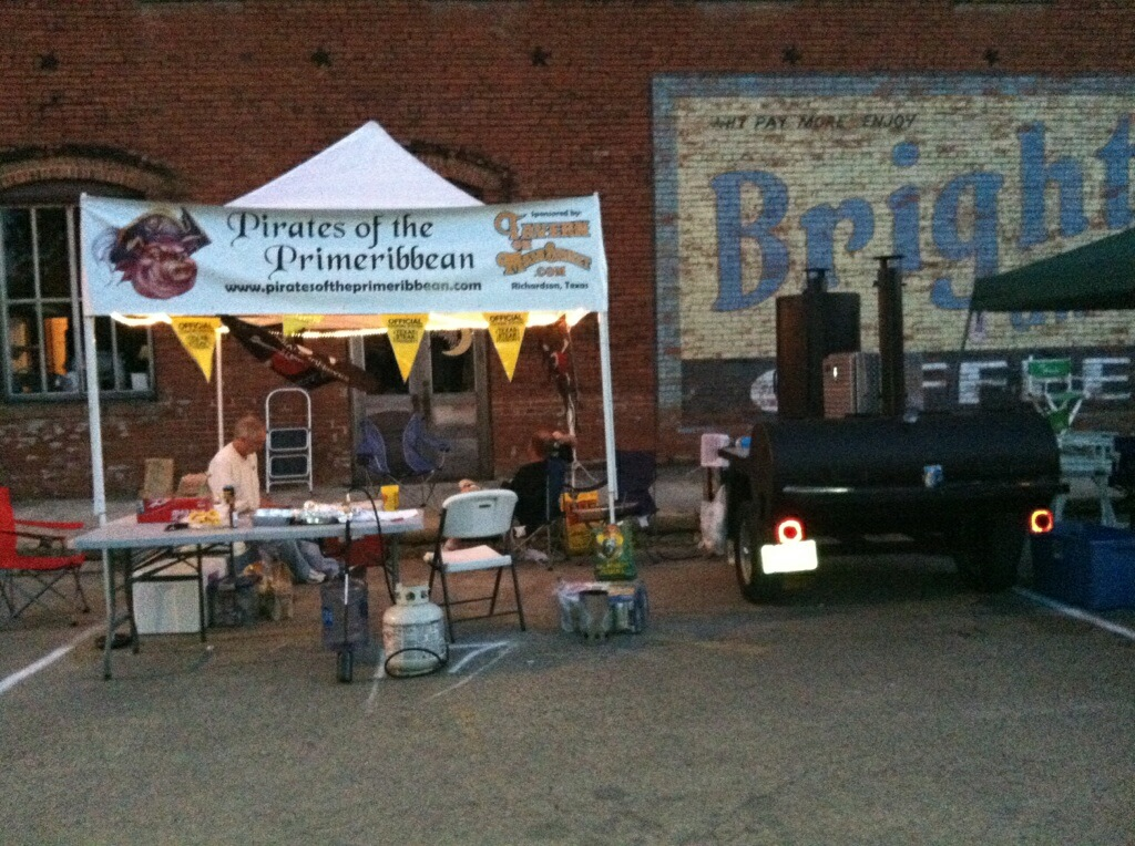 "Our set up at the ""Texas Steak Cookoff"" in Hico, Texas  May 18th, 2012."